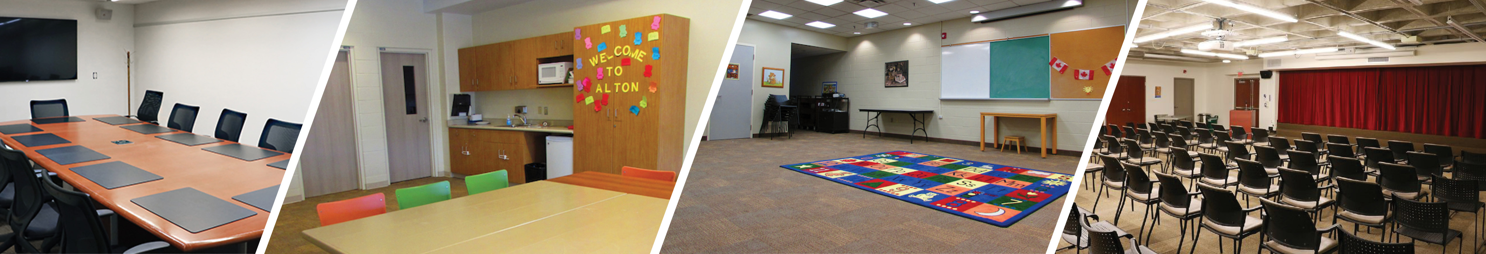 Banner image of rooms that available to rent for public use at the Burlington Public Library. Currently suspended due to COVID.